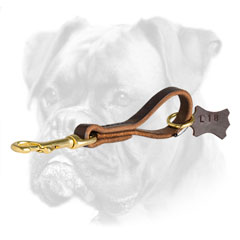 Short genuine leather Boxer leash for utmost control
