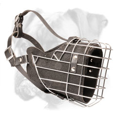 Durable leather padded wire cage Boxer muzzle